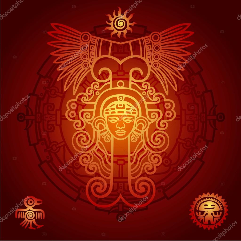 Linear drawing decorative image of an ancient indian deity linear drawing decorative image of an ancient indian deity mystical circle symbols of buycottarizona Choice Image