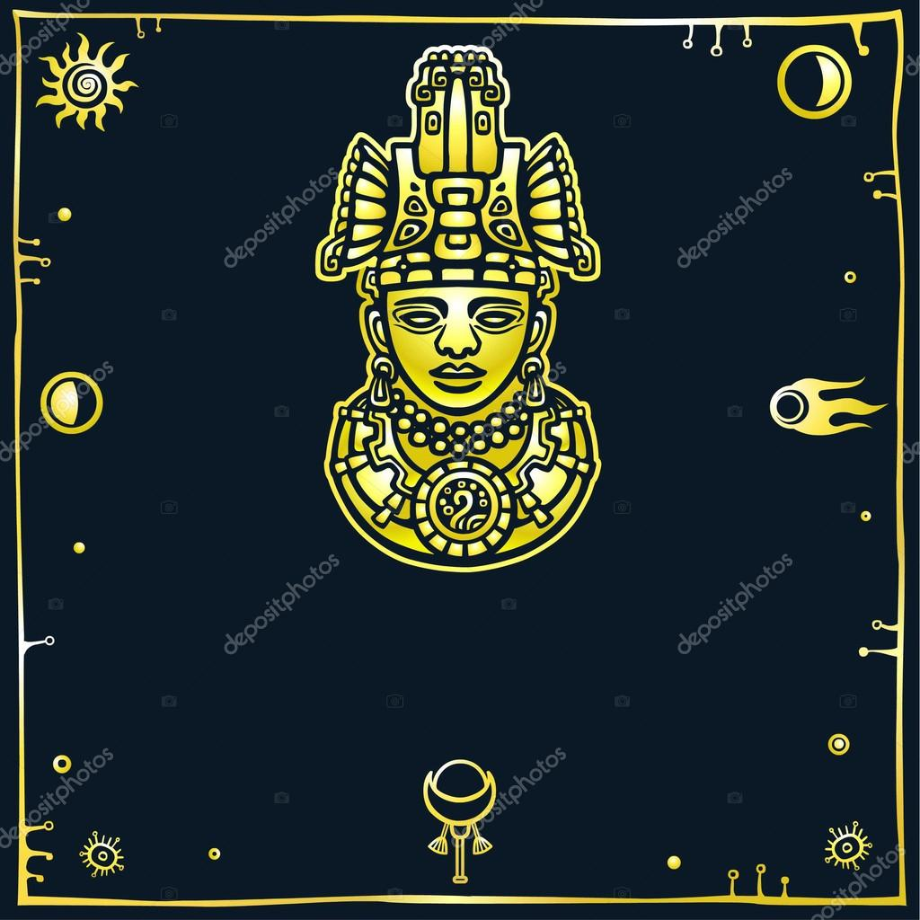 Linear drawing decorative image of an ancient indian deity the linear drawing decorative image of an ancient indian deity the yellow isolated silhouette on a black background gold imitation space symbols buycottarizona Choice Image