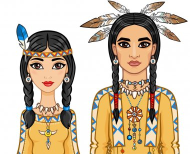 Family in clothes of the American Indians. Vector illustration isolated on a white background.
