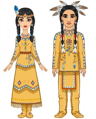 Animation family in clothes of the American Indians. Full growth. Vector illustration isolated on a white background.