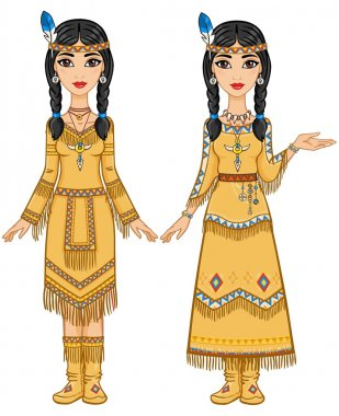 Couple of beautiful animation girls in clothes of the American Indians in different poses. Full growth. Vector illustration isolated on a white background.
