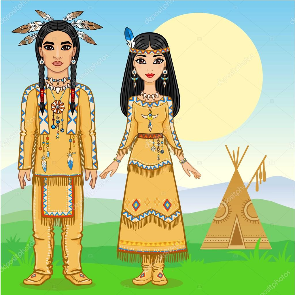 Animation family in clothes of the American Indians. Full growth. Background - a mountain landscape. Vector illustration.