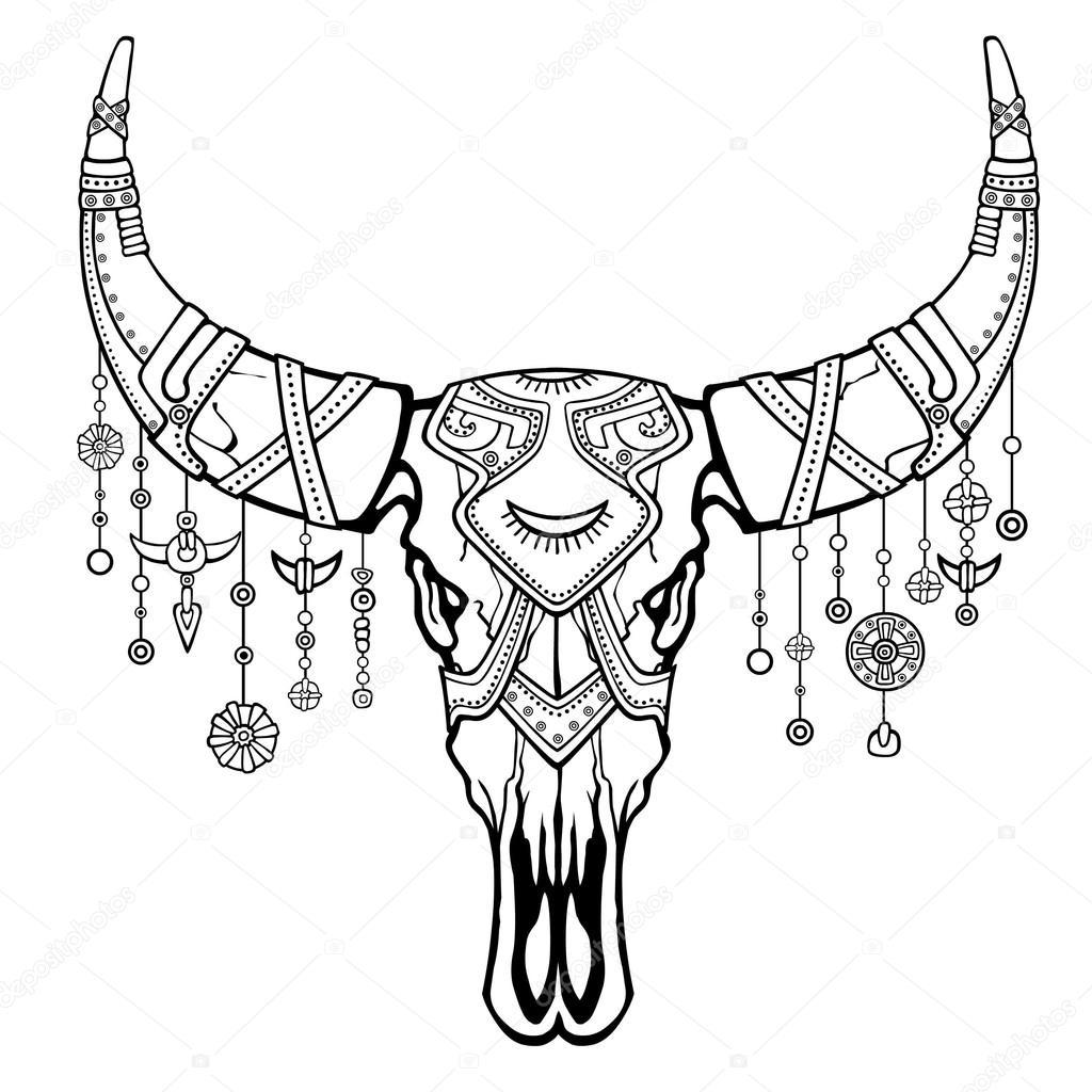 Fantástico cráneo de un toro. Joyería étnica y granos, motivos ...