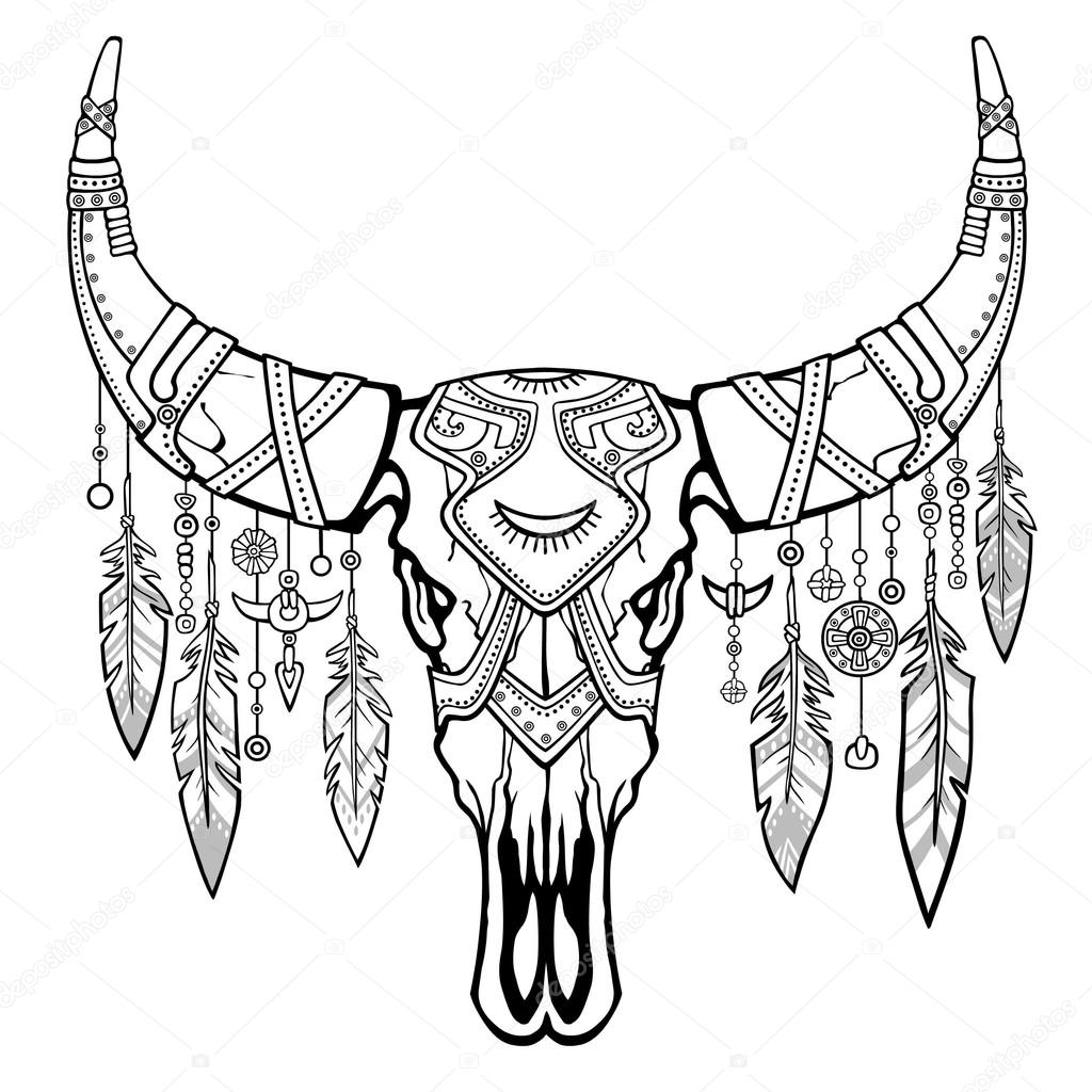 Fantastische Schedel Van Een Stier Etnische Sieraden En