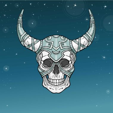 Fantastic horned human skull in iron armor. Esoteric image of the demon, shaman, mythical character. Boho design. Background - the star sky. Vector illustration.