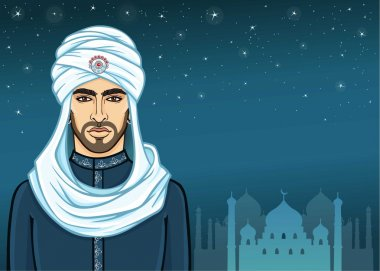 Animation portrait of the Arab man in a turban. Background - the night star sky, a palace silhouette. Vector illustration.