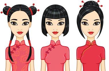 Three animation Asian girls