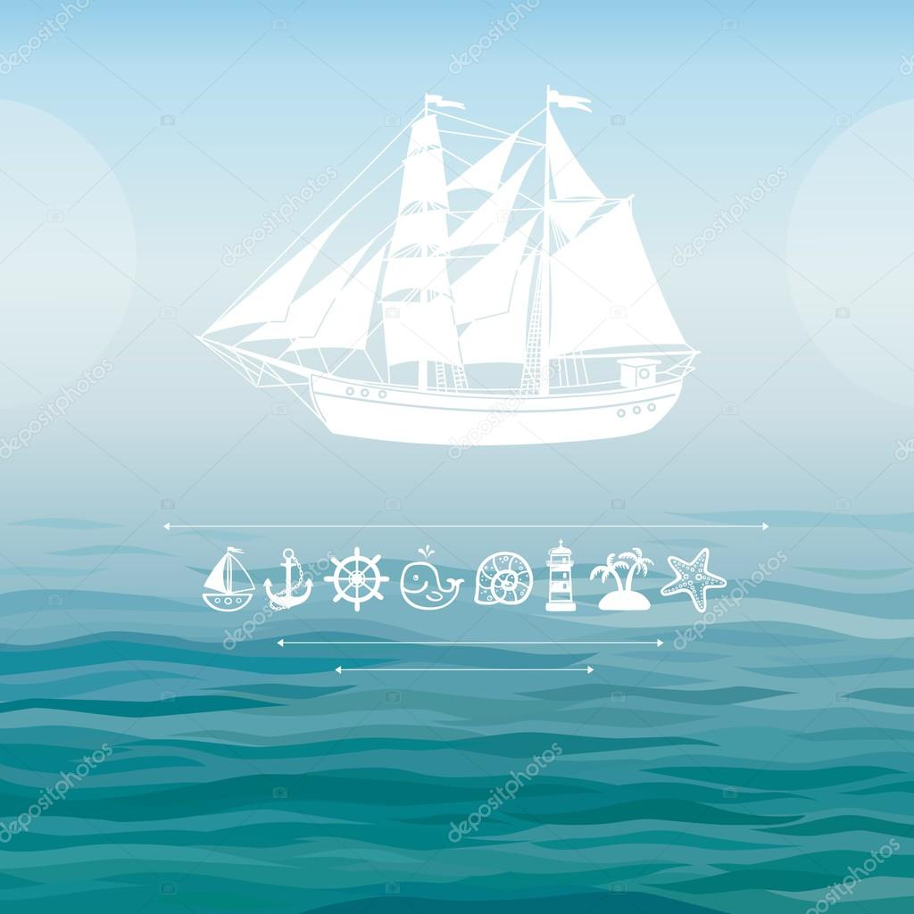 Ship silhouette on a water background.