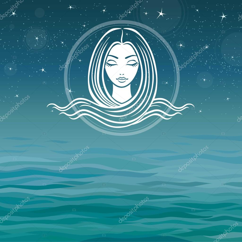 Stylized girl's face with long hair on a sea background.
