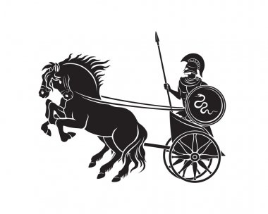 chariot with a gladiator silhouette
