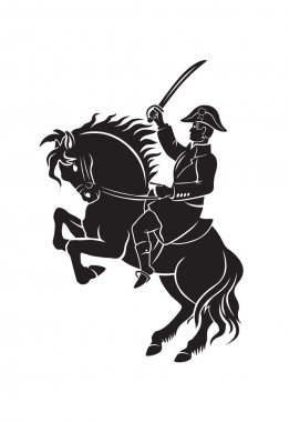 silhouette of Napoleon on horseback
