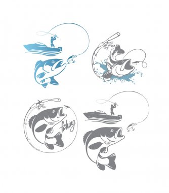 bass fishing logos set