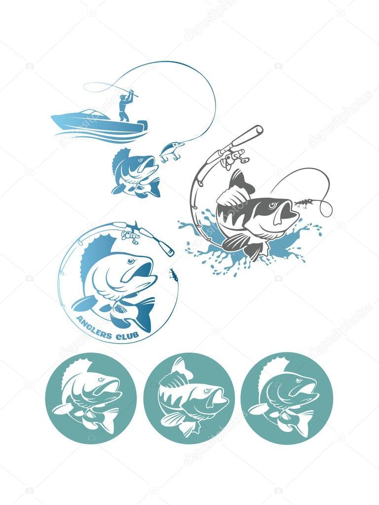PERCA pesca set de logos — Vector de stock © kvasay #105140908