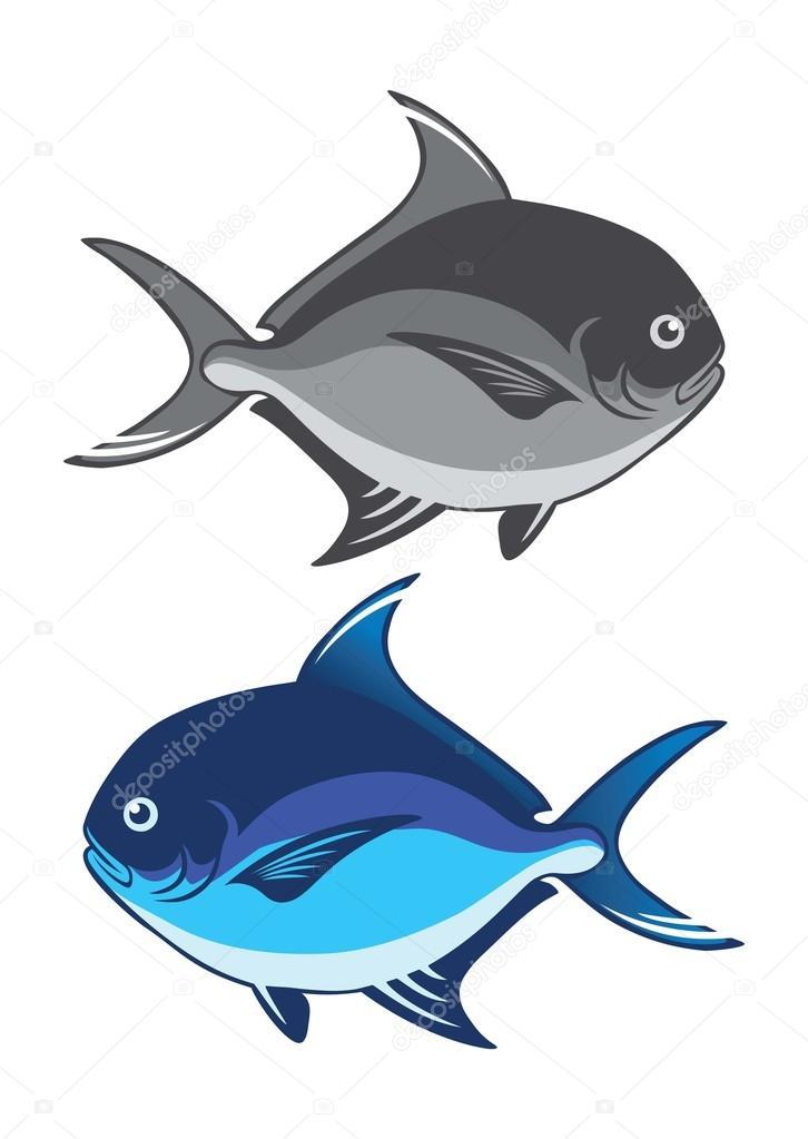 Pomfret Fish Icons Stock Vector C Kvasay 117802216