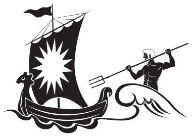 Ancient Poseidon with ship