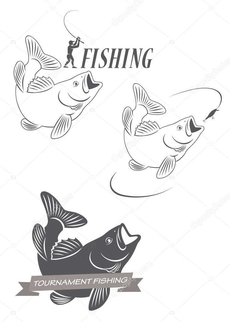 Iconos de pesca Carpa — Archivo Imágenes Vectoriales © kvasay #74012375