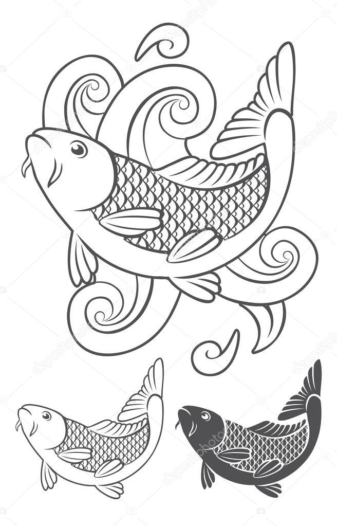 pez carpa koi — Vector de stock © kvasay #89988508