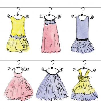 Vector fashionable beautiful clothes for little girls clip art vector