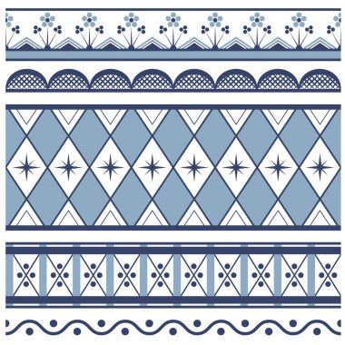 Set of seamless borders. In style russian gzhel
