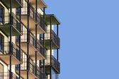 Fotografie modernes Mehrfamilienhaus mit Balkon