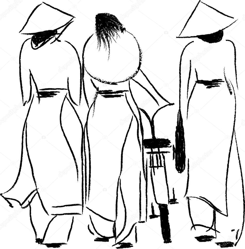 Vietnamese women ao dai   Vietnamese Women in Ao Dai Vector ...