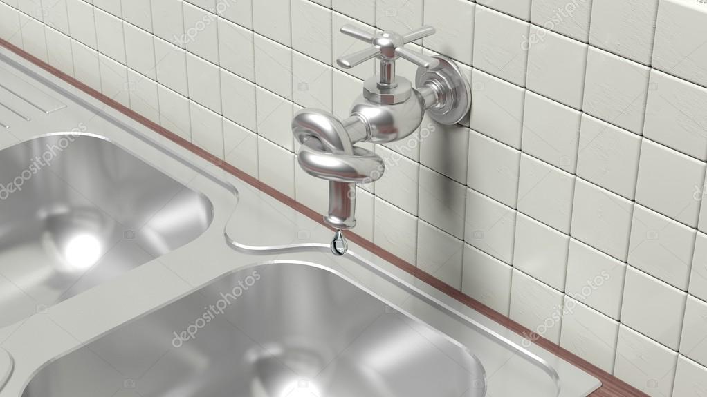 3d undichte wasserhahn gebunden knoten auf wand mit fliesen und waschbecken stockfoto - Wand wasserhahn ...