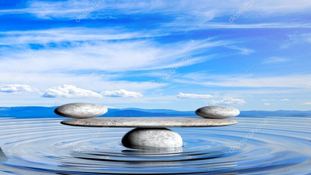 Render 3d de equilibrio piedras de zen en el agua con for Fotos piedras zen