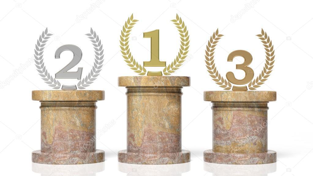 Winners Podium 3d rendering of...