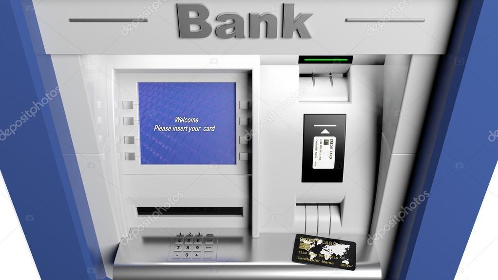 Atm Machine Display Closeup With Credit Card Stock Photo
