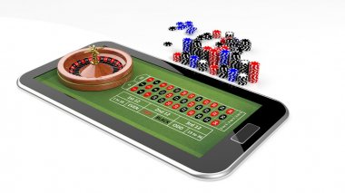 Online casino concept with tablet, roulette and chips isolated
