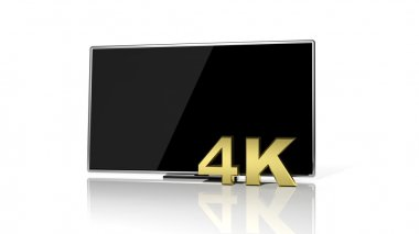 Golden 3D 4K symbol and black tv screen isolated