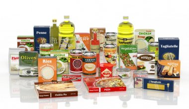 3D collection of packaged food isolated on white background stock vector