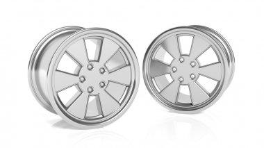 Car aluminum alloy rims, isolated on white background