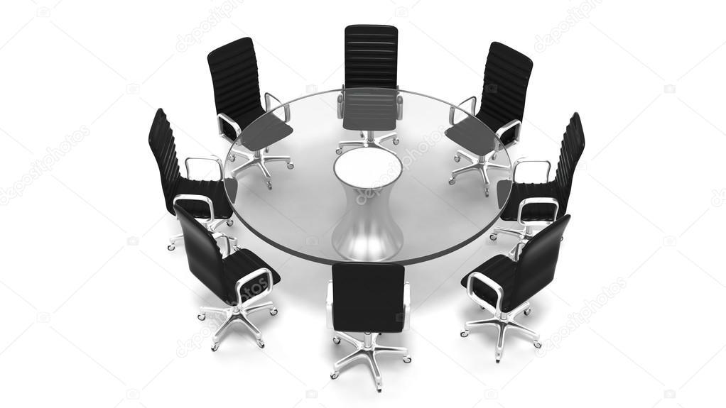 Rotondo in vetro tavolo da sala di riunione con sedie in for Tavolo di vetro rotondo