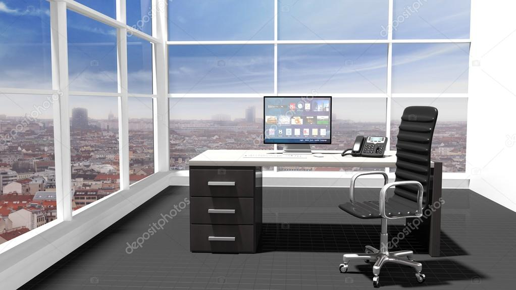 Interior de una oficina moderna con vista ventana y for Concepto de oficina moderna