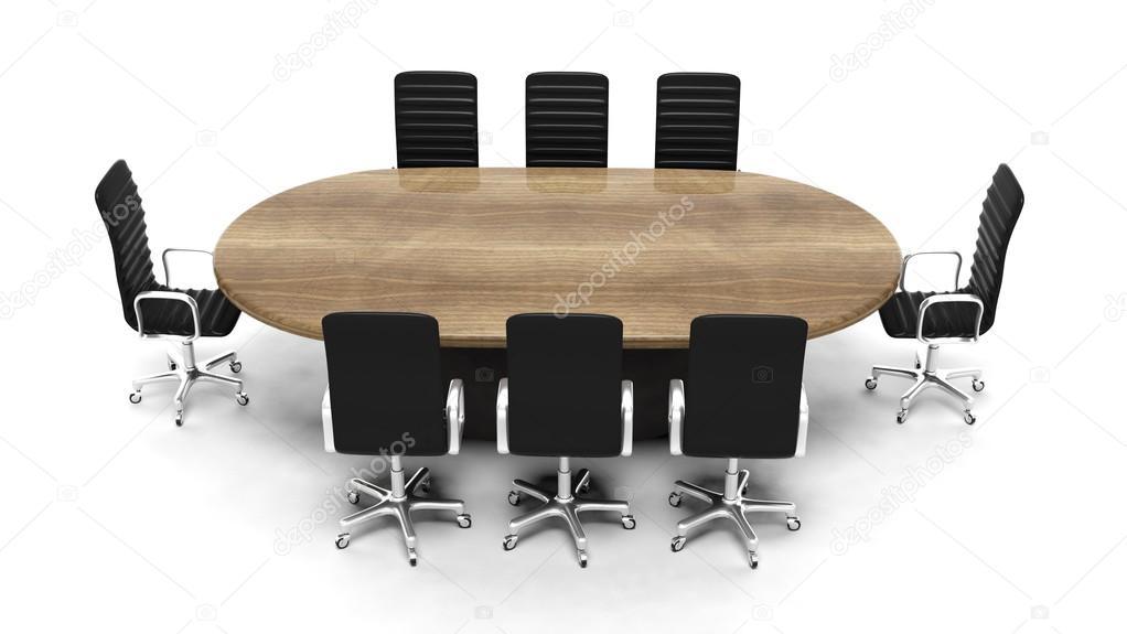 Ovale houten tafel met lederen stoelen vergadering geïsoleerd op