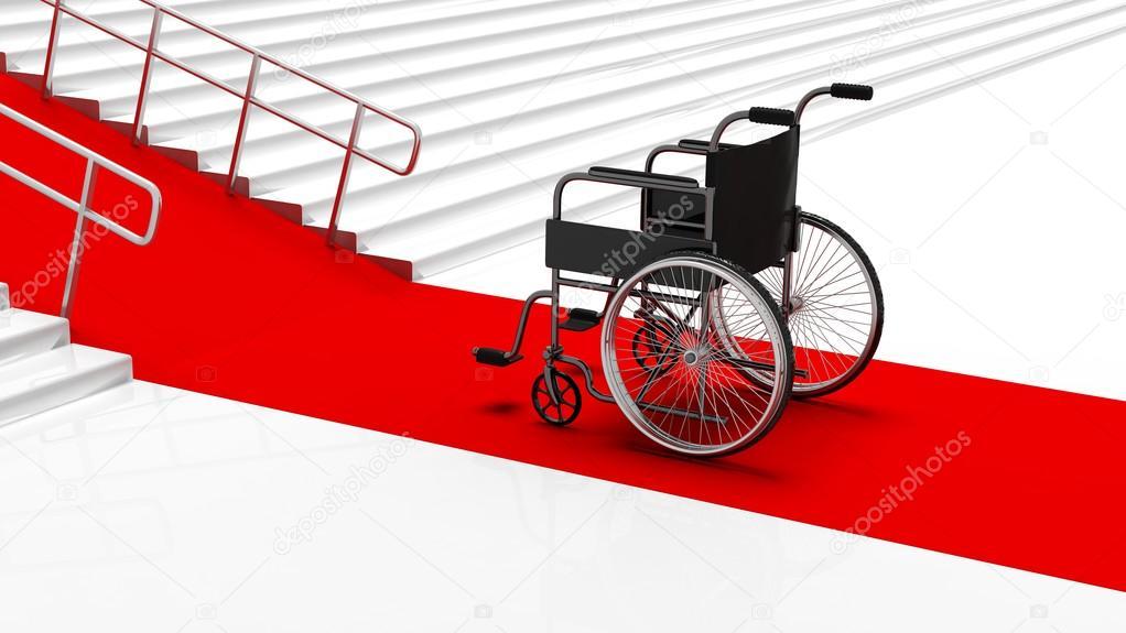 Escaliers En Fauteuil Roulant à L Avant Blanc Noir Handicap