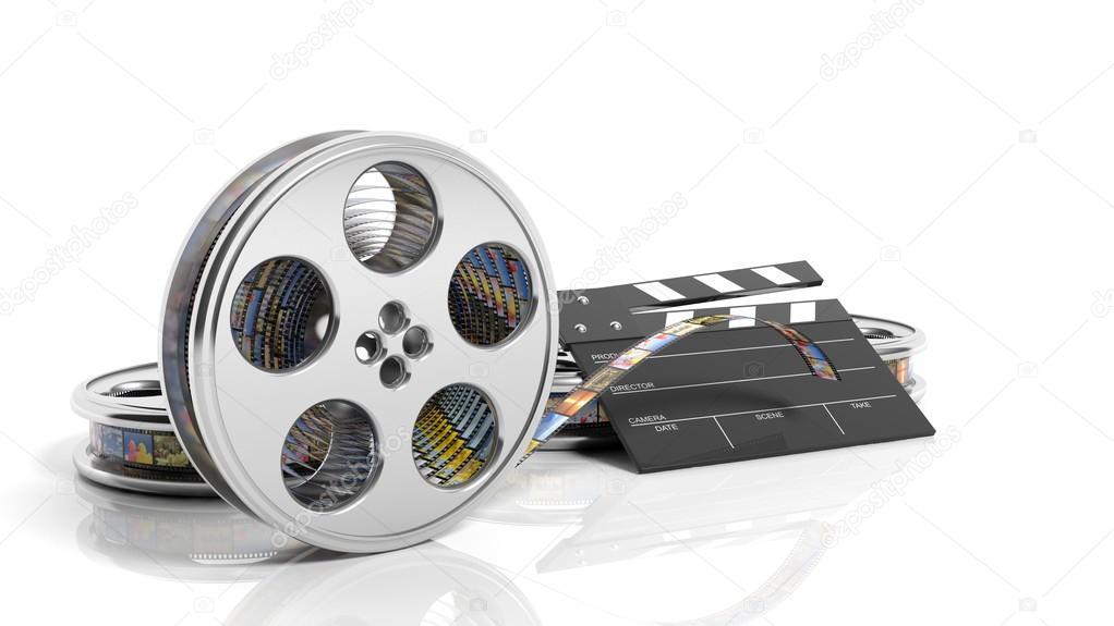 Claqueta Cine y película de carrete con cuadros aislados sobre fondo ...