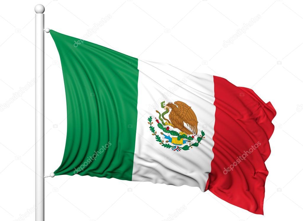Ondeando La Bandera De México En El Asta De La Bandera