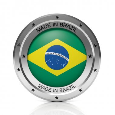 Made in Brazil round badge with national flag, isolated on white background.