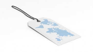 Made in price tag with World map flag, isolated on white background.