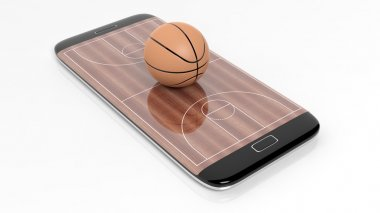 Basketball field with ball on smartphone edge display, isolated on white.