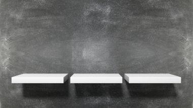 Three small empty shelves on blackboard background.