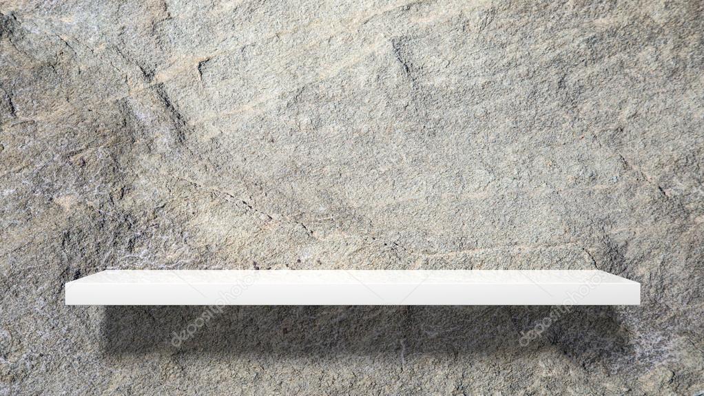 Weiße Steinwand leere weiße wand regal auf steinwand — stockfoto © viperagp #93699548
