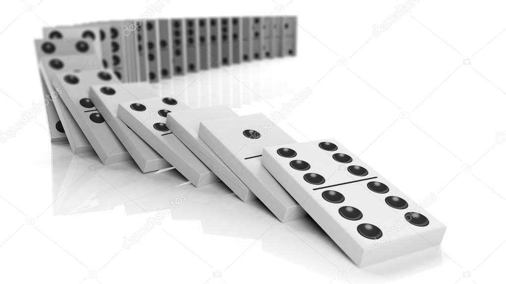 Fichas de domin blanco cayendo en una fila aislada en for Fichas de domino