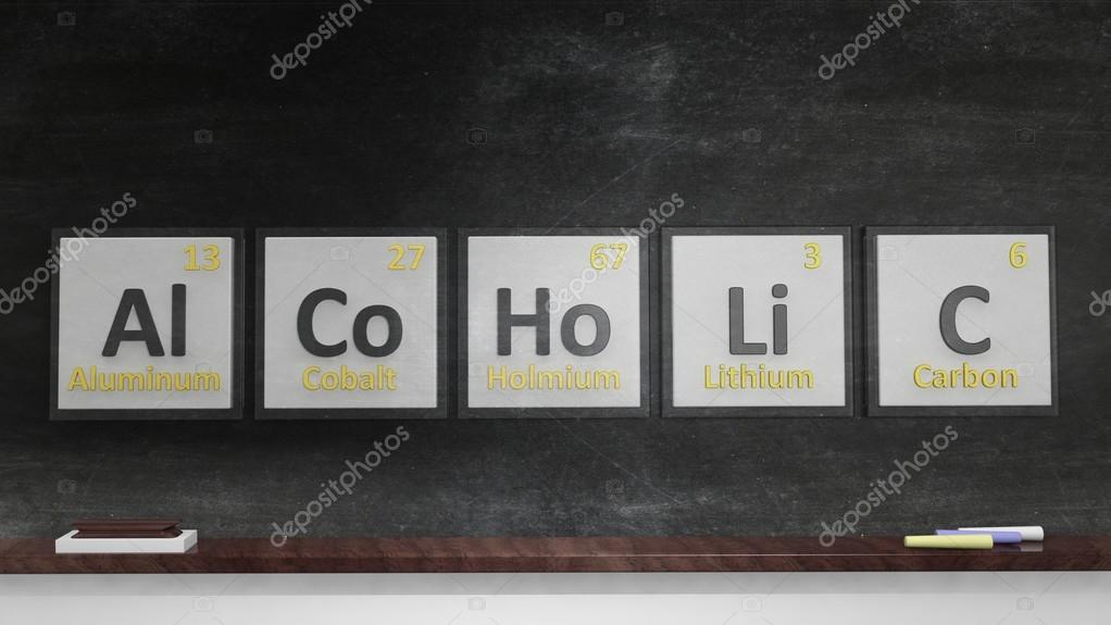 Periodic table of elements symbols used to form word alcoholic on periodic table of elements symbols used to form word alcoholic on blackboard stock urtaz Gallery
