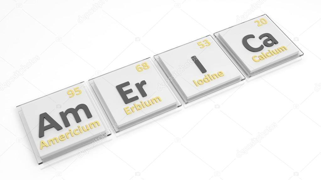 Periodic Table Of Elements Symbols Used To Form Word America