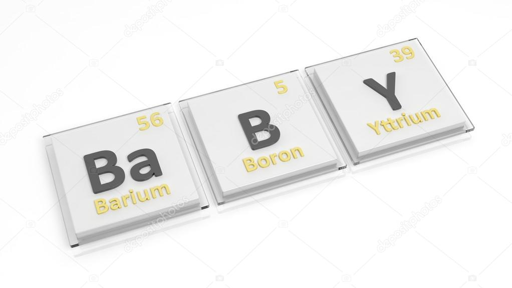 Periodic Table Of Elements Symbols Used To Form Word Baby Isolated