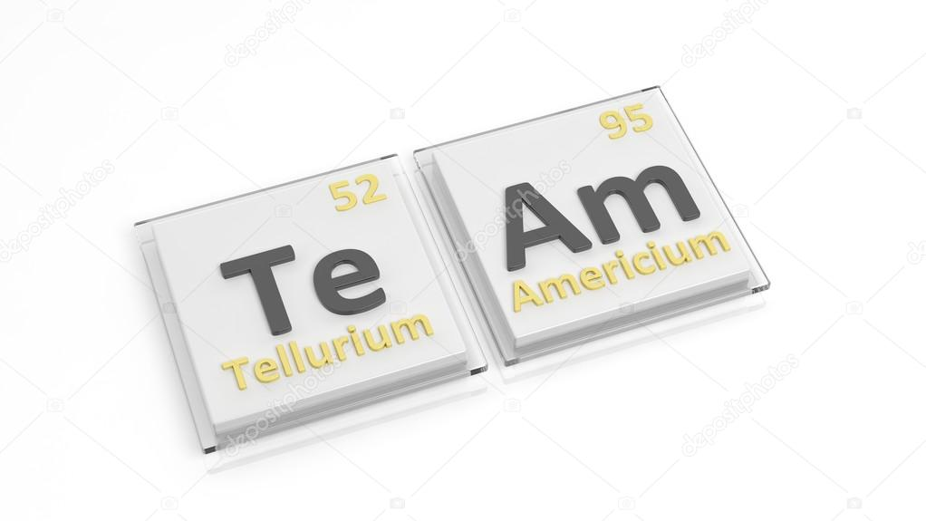 Periodic Table Of Elements Symbols Used To Form Word Team Isolated