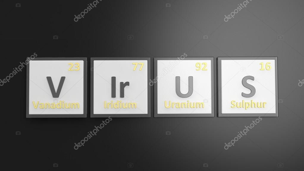 Periodic table of elements symbols used to form word virus isolated periodic table of elements symbols used to form word virus isolated on black stock urtaz Image collections
